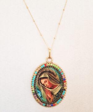medalla virgen ovalada colores