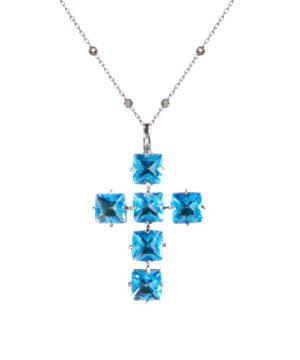 colgante collar cruz azul