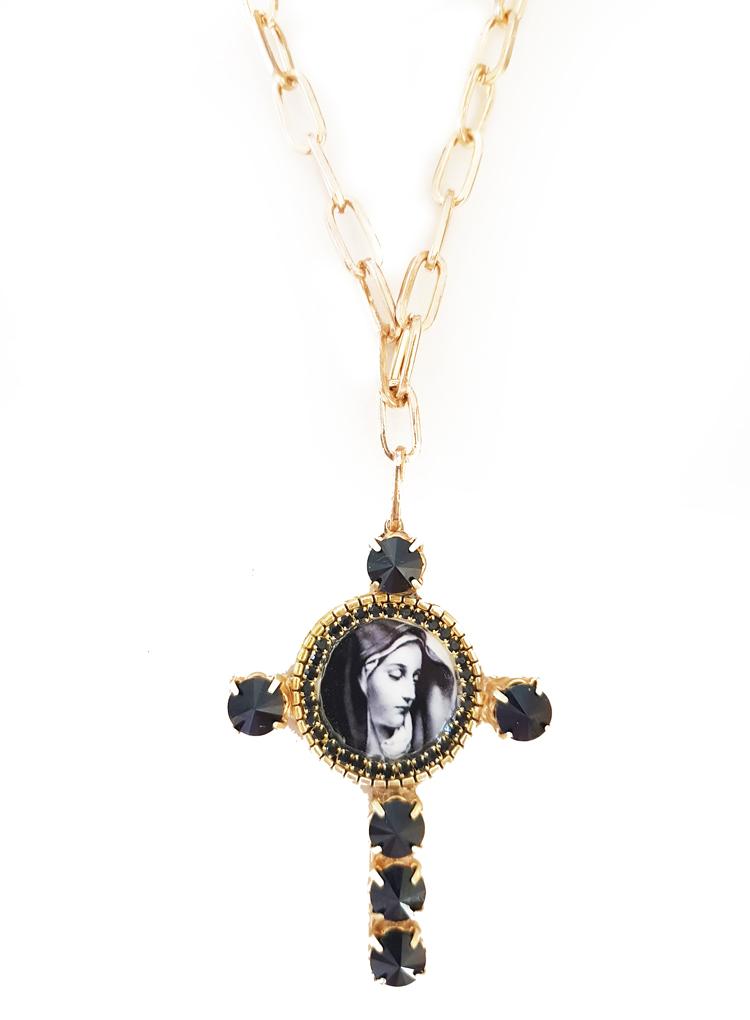 colgante cruz con virgen