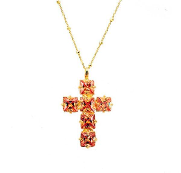 colgante beige oro abrevoir cruz
