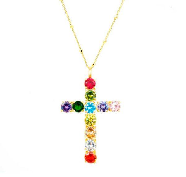 colgante cruz grande oro