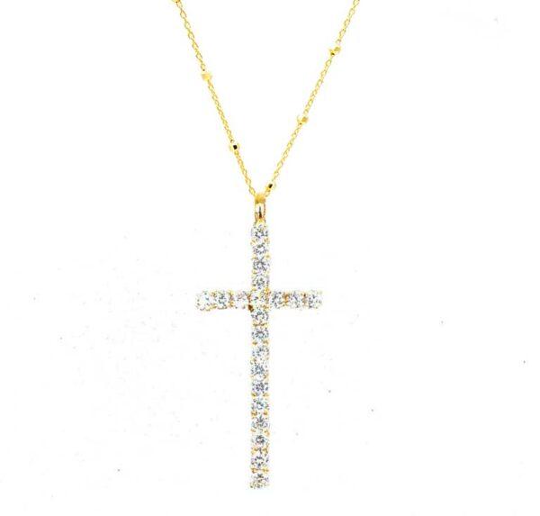 colgante cruz fina blanca oro