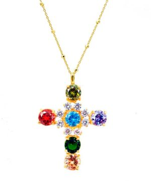 collar mujer cruz oro