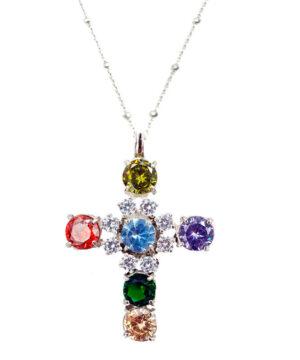 collar mujer cruz plata