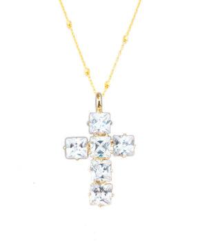 colgante cruz plata bañado en oro