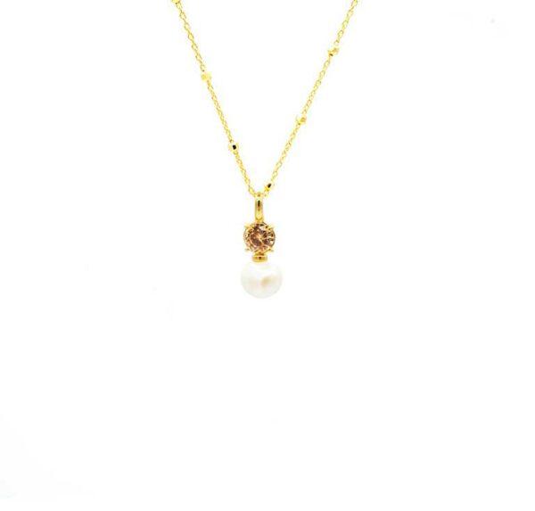 colgante con circonita perla